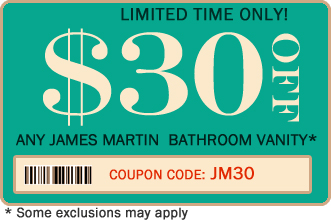 James Martin Bahtroom Vanity Coupon JM30 - $30 off
