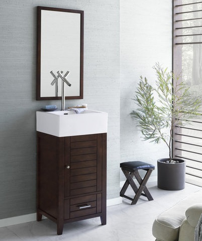 """Elise 18"""" Wood Vanity Cabinet With Single Wood Door And Bottom Drawer From RonBow"""