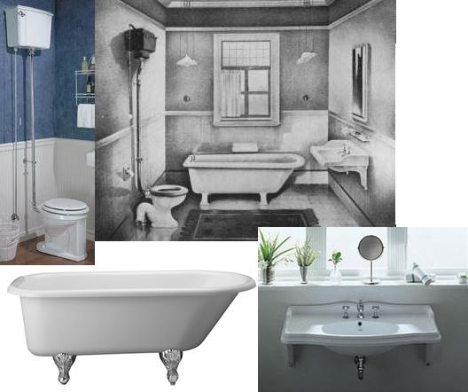 Small Edwardian Bathroom Sketch With Period-Style Toilet, Sink, And Tub