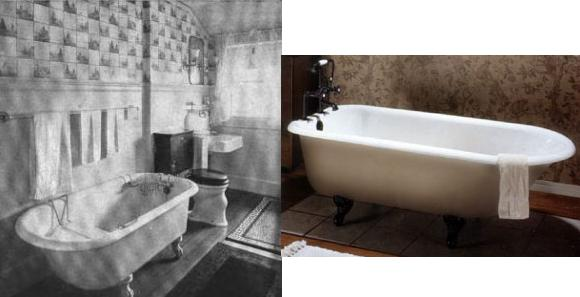 Historical Edwardian Bathroom And Matching Cast Iron Clawfoot Tub From Elizabethan Classics