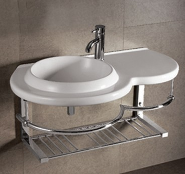 isabella wall mounted bathroom sink with chrome towel bar and shelf from whitehaus
