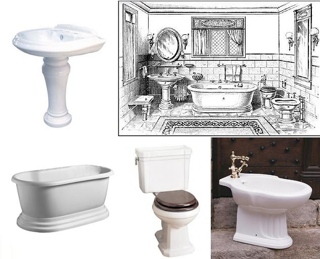 Edwardian Bathroom Sketch With Matching Porcelain Fixtures