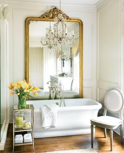 A Simple Chandelier Light s Up This Elegant Edwardian Bath