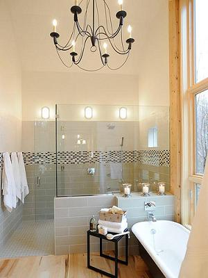Modern Bathroom With Glass Tile, Wood Floors, And Lots And Lots Of Light