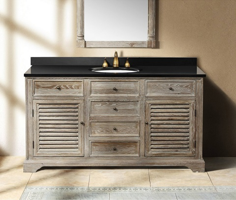 Buy Weathered Wood Bathroom Vanities For A Cottage Style Bathroom - Real wood bathroom vanity