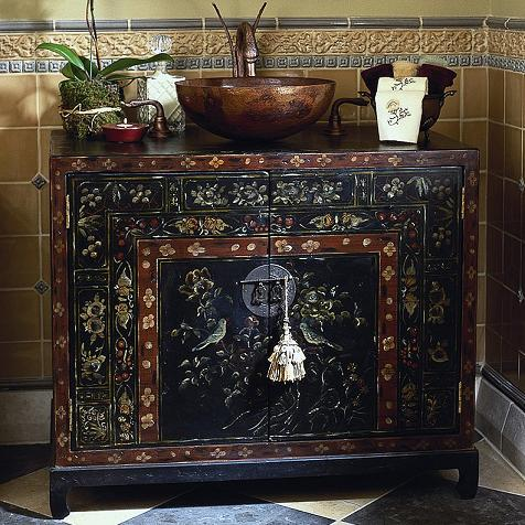 Merveilleux Travel Chest Oriental Hand Painted Bathroom Vanity From Cole And Co
