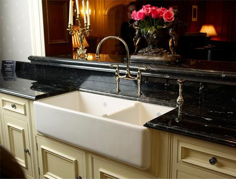 Shaws Original Double Basin Apron Fron Fireclay Sink From Rohl