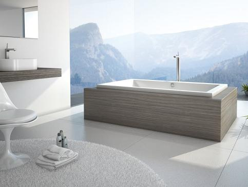 Kava Drop In Tub From MAAX In Laminate Wood Bathtub Mount