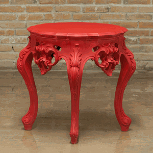 Ornate Red Side Table From PolArt