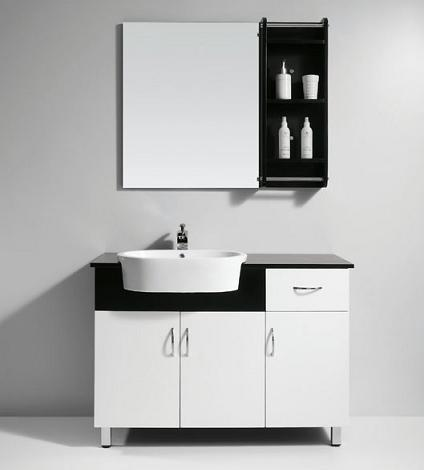black and white bathroom vanities a high contrast modern bathroom - Modern White Bathroom Cabinets