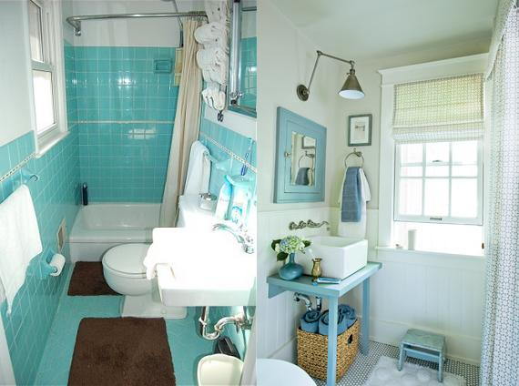 Original 1964 Turquoise Bathroom Left Vs A Modern Turquoise Bath Right Turquoise  Bathroom Design Modernizing