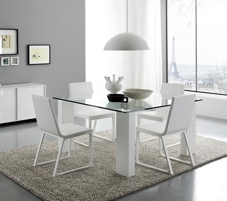 Stripe White Glass Dining Table From Rossetto