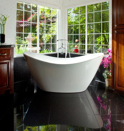 Black Granite Bathroom Flooring (by Granite Transformations Atlanta)