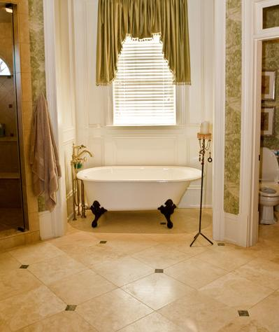 Limestone Tile Floor (by Deer Creek Homes, photo by Sonrise Photography)