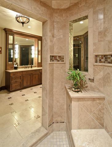 Master Bathroom With Glass Accent Tiles (by Aneka Interiors Inc)