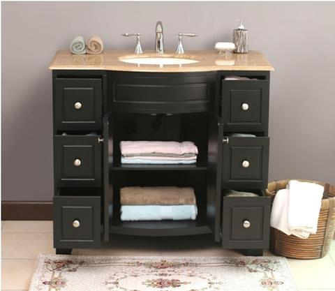 Milan Bathroom Vanity With Six Drawers And Shelf In Main Cabinet From Virtu USA