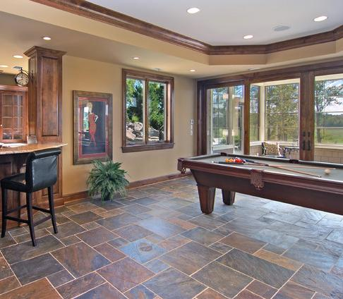 Split Faced Slate Tile Floor (by John Kraemer And Sons, photo by Landmark Photography)
