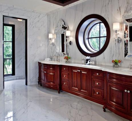 White Marble Tile Floors (by EuroCraft Interiors, photo by Justin Maconochie)