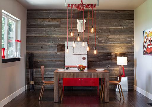 Wood Accent Wall In Modern Dining Space (by Jordan Iverson Signature Homes, Photo by KaDa Photography)