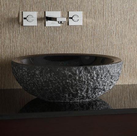 Black Granite Stone Vessel Sink With Rough Exterior From Xylem