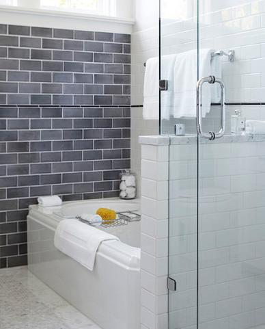 Combination Of Classic Porcelain Subway Tile And Gray Glass Tile (by Urrutia Design, photo by Matt Sartain)