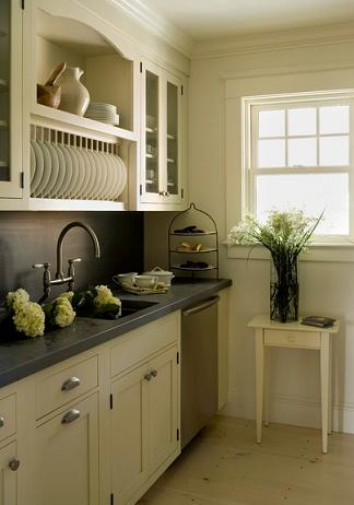 Kitchen Cabinets With Plate Rack Open Shelf And Glass Door Fronts (by  Aquidneck Properties)