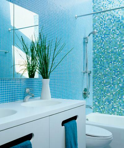 one inch square tile in a uniform color looks less cluttered than a mix by - Bathroom Tiles Trends 2013