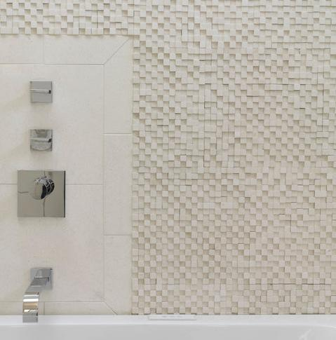 Split Faced Textured Marble Mosaic (by Ziger Snead Architects, photo by Alain Jaramillo)