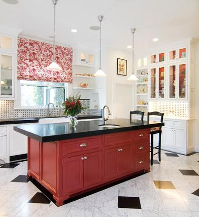 Bold Red Kitchen Island (by Precision Cabinets And Trim)