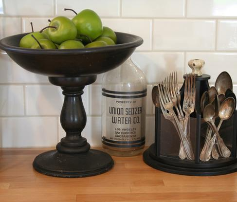 Bowl Of Green Apples In Traditional Kitchen (by The Old Painted Cottage)