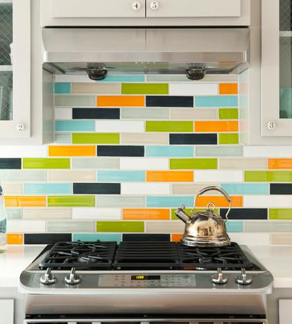Cheery Colorful Backsplash (Design By Bret and Jennifer Franks, photo by Rett Peek)