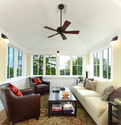 A Simple Ceiling Fan Keeps This Lookout Room - Typically The Hottest Room In The House - Cool During The Summer Months (by Moore Architects, photo by Hoachlander Davis Photography)