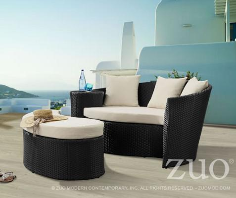 Curacao Outdoor Bed With Ottoman From Zuo Modern