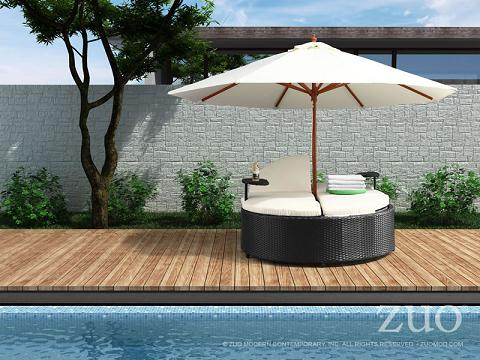 Hampton Adjustable Outdoor Bed With Umbrella From Zuo Modern