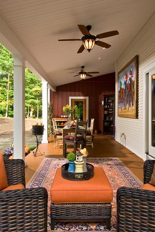 Outdoor Ceiling Fans Not Only Keep Covered Patios Cool, But Can Help Drive Off Insects As Well (by Witt Construction, photo by Randall Perry Photography)