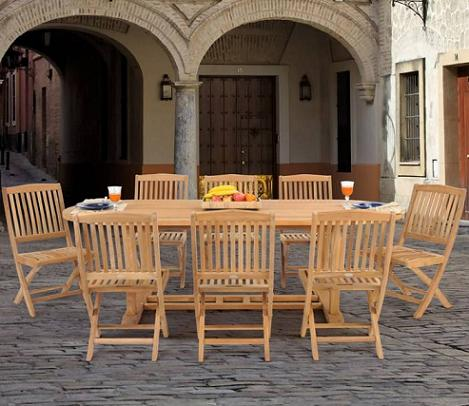 Oval 9 Piece Teak Dining Set From Caluco