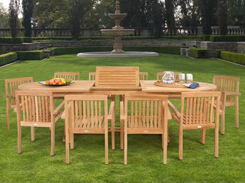 Teak 11 Piece Dining Set With Expandable Table From Caluco
