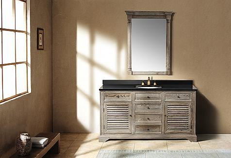 going gray: aged wood bathroom vanities for a natural antique look