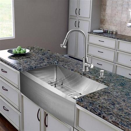 all in one stainless steel dual bowl farmhouse sink from vigo industries - Budget Kitchen Sinks