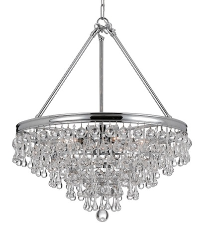 Affordable alternatives to a traditional crystal chandelier calypso glass chandelier from crystorama mozeypictures Choice Image