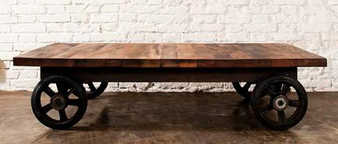 Coffeecart Factory Cart Style Coffee Table In Reclaimed Wood And Recycled  Cast Iron From Nuevo Living
