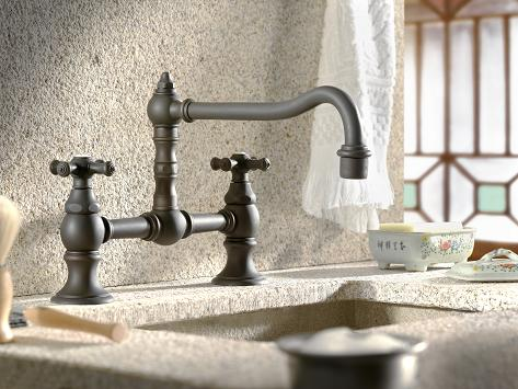 Highlands Double Handle Bridge Kitchen Faucet With Metal Cross Handles From  Cifial