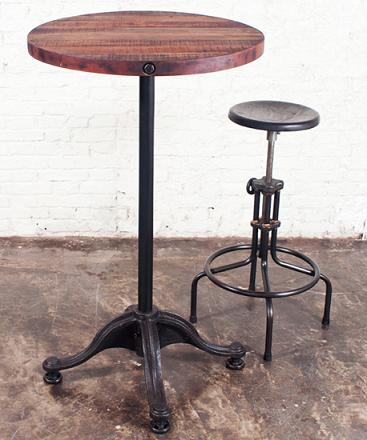 Round Bar Table In Reclaimed Wood And Cast Iron From Nuevo Living
