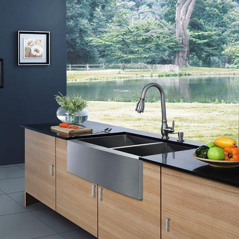Stainless steel kitchen sinks more than just a budget bargain stainless steel double bowl farmhouse sink from vigo industries workwithnaturefo