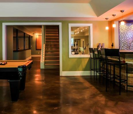 This Stained Concrete Floor Makes Cleanup A Breeze In This Large Finished  Basement (by Daniel