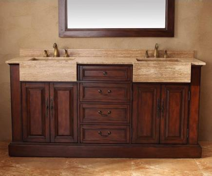 Cherry Bathroom Vanity With Double Integrated Stone Farmhouse Sinks From James Martin