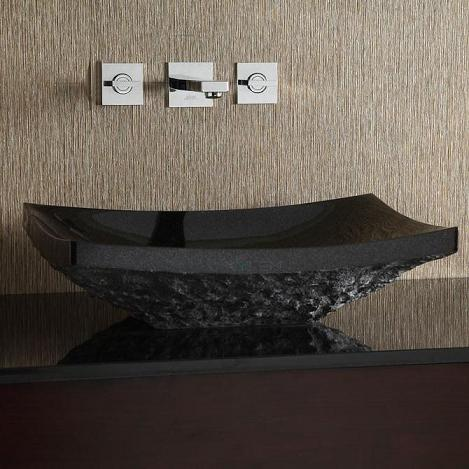 Rectangular Black Granite Rough Exterior Stone Vessel Sink From Xylem