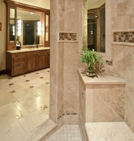 small mosaic tile accents can really dress up a tile floor by aneka interiors inc - Bathroom Designs With Mosaic Tiles
