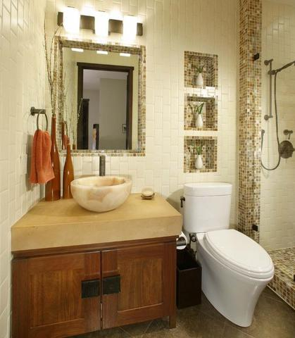 Smaller Tile Frames Can Help Bring Out Unique Architectural Features, Like Built In Mirrors Or Recessed Niches (by Debbie R. Gualco)