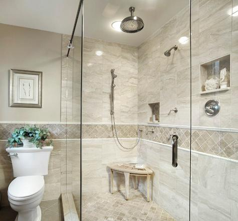 This Broad Tile Border Adds Visual Interest To This Marble Shower Enclosure (by Angie Keyes & How To Use A Tile Border To Dress Up Your Shower Tile